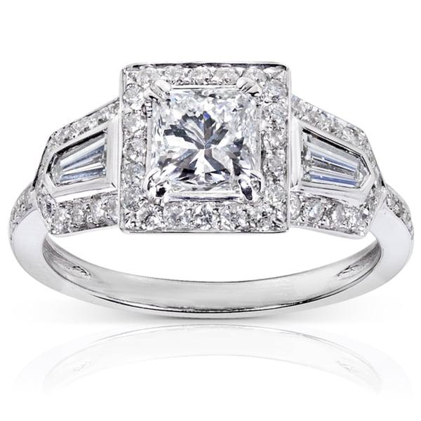 Annello 14k White Gold 1 3/5ct TDW Diamond Engagement Ring (E-F, I1-I2)