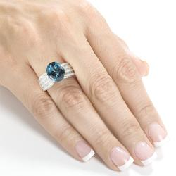 Annello 18k White Gold 1 1/5ct TDW Blue Topaz and Diamond Ring (H-I, I1-I2)