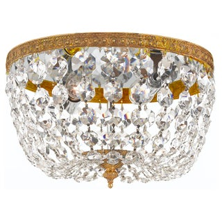 Crystal 2-light Flush with Olde Brass Finish