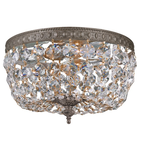 Crystal 2-light Flush with English Bronze Finish