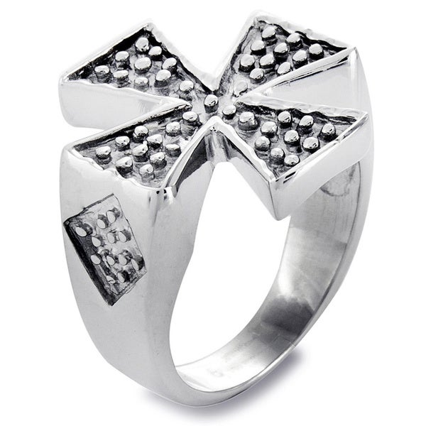 Stainless Steel Men's Textured Iron Cross Ring