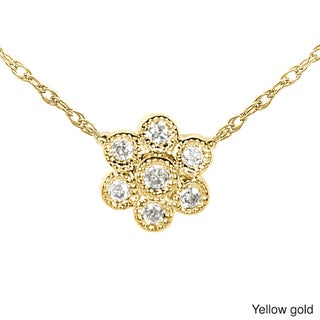 Annello 14k Gold Diamond Accent Floral Necklace