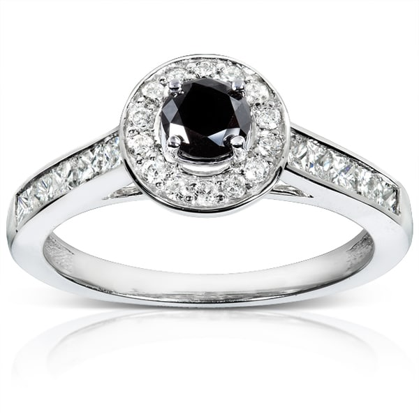 Annello 14k Gold 3/4ct TDW Black and White Diamond Ring (H-I, I1-I2)