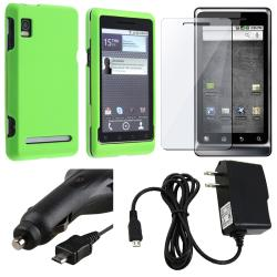 Neon Green Case/ Screen Protector/ Chargers for Motorola Droid A955