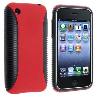 Black TPU/ Red Plastic Hybrid Case for Apple iPhone 3G/ 3GS