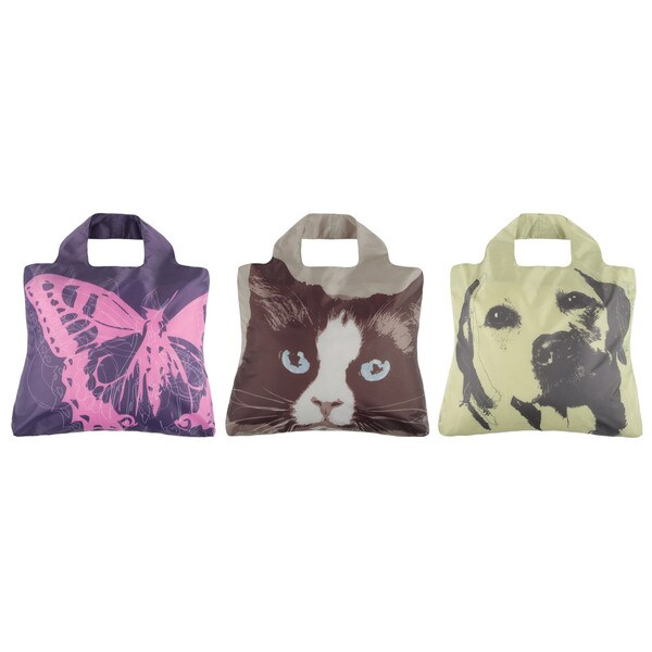 Envirosax Animal Planet 3-Bag Reusable Pouch Shopping Tote Bag