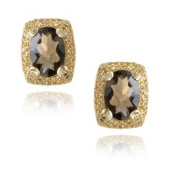 Glitzy Rocks 18k Gold Plated Oval 8ct TGW Smoky Quartz and Citrine Accent Earrings