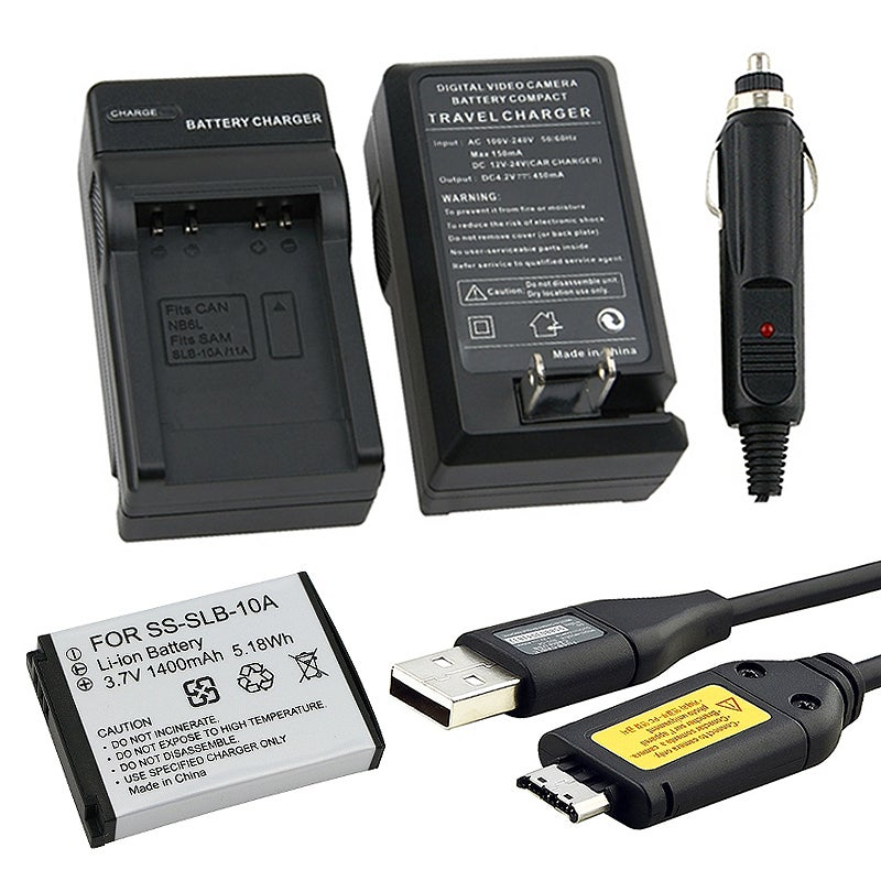 INSTEN USB Cable with Ferrite/ Li-ion Battery/ Charger Set for Samsung C-3