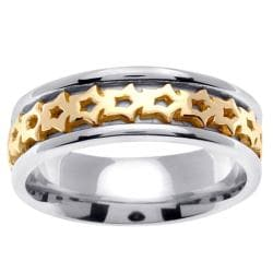 14k Two-tone Gold Men's Celtic Thorn Design Wedding Band