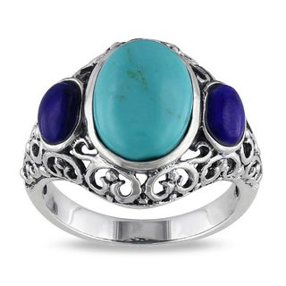 M by Miadora Sterling Silver Turquoise and Sodalite Fashion Ring