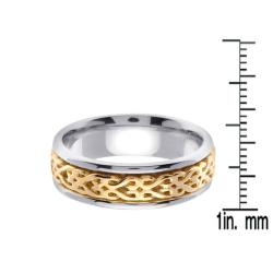 14k Two-tone Gold Men's Woven Celtic Design Wedding Band