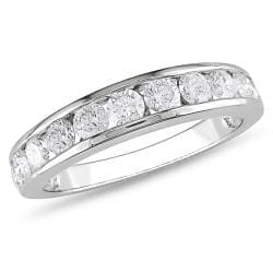 Miadora 10k White Gold 1ct TDW Diamond Eternity Band (G-H, I2-I3)