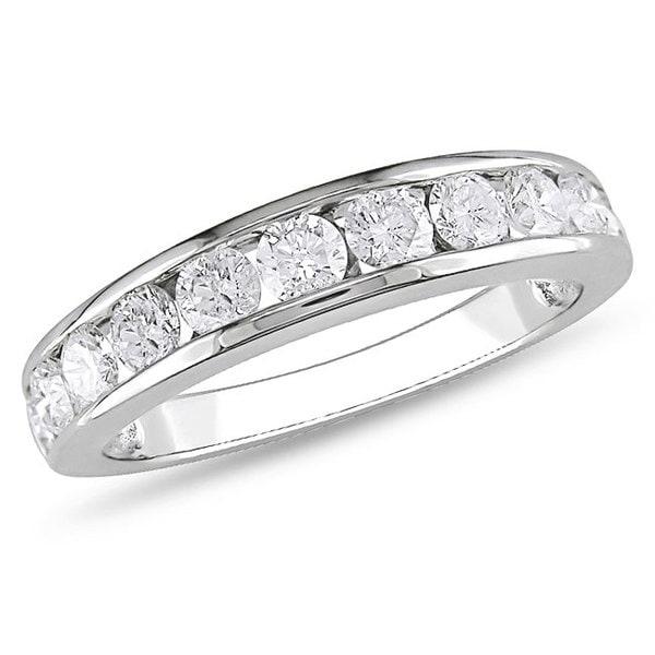 Miadora 10k White Gold 1ct TDW Diamond Eternity Band (G-H, I2-I3)