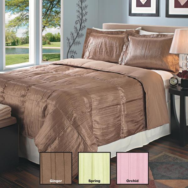 Pleated Satin Down Alternative 3-piece Comforter and Sham Set