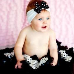 Extra Fluffy White and Black Polka Dot Tutu/ Headband/ Bow 3-piece Set