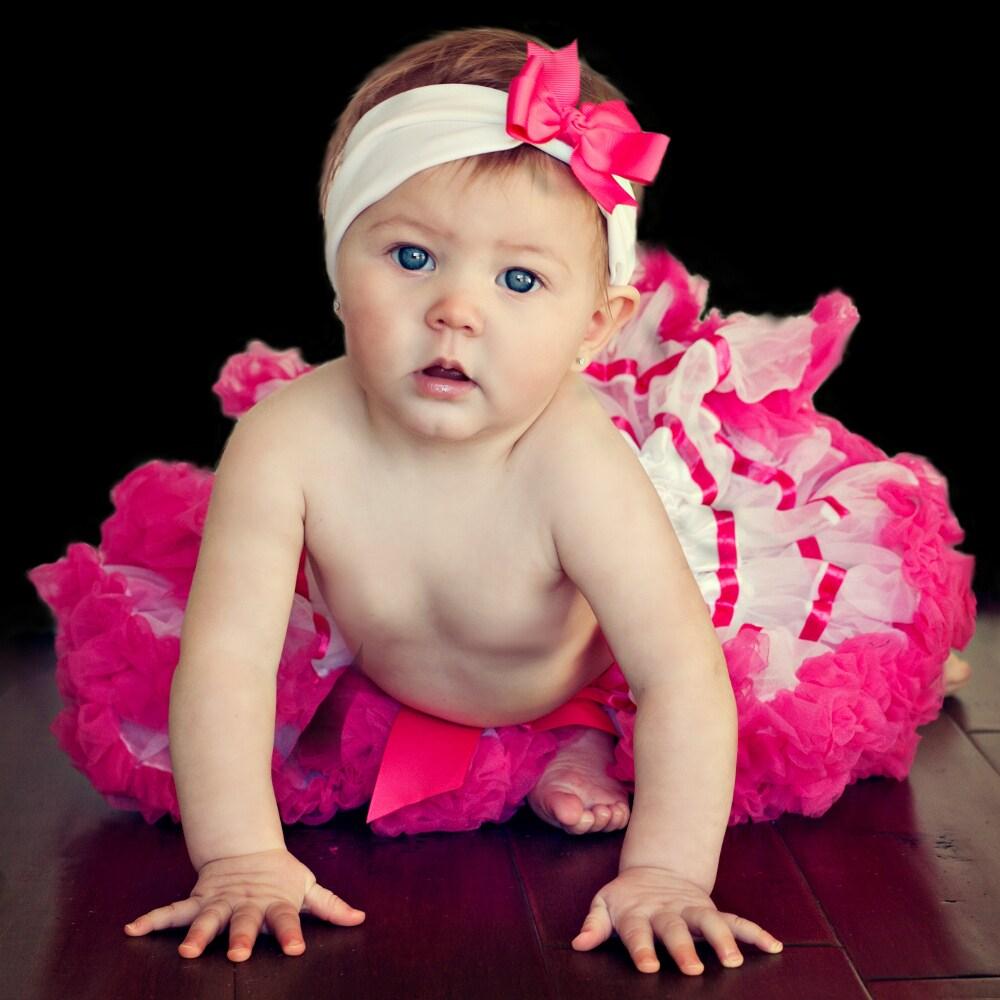 Extra Fluffy White and Hot Pink Tutu/ Headband/ Bow 3-piece Set
