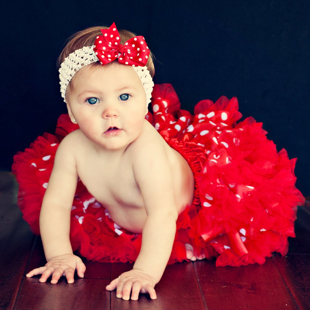 Extra Fluffy Red and White Polka Dots Tutu/ Headband/ Bow 3-piece Set
