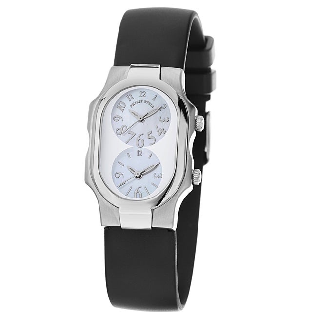 Philip Stein 'Signature' Women's Black Rubber Strap Dual Time Watch