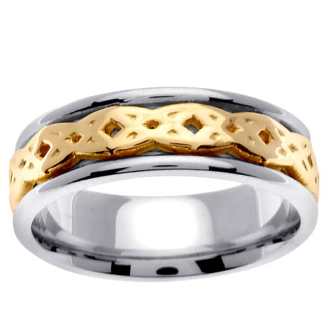 14k Two-tone Gold Men's Celtic Interwoven Design Wedding Band