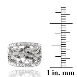 DB Designs Sterling Silver Black Diamond Accent Leaf Design Ring