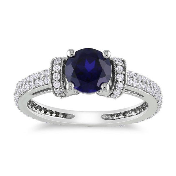Miadora 10k Gold Created Sapphire and 1/2 CT TDW Diamond Ring (G-H) (1ct TGW)
