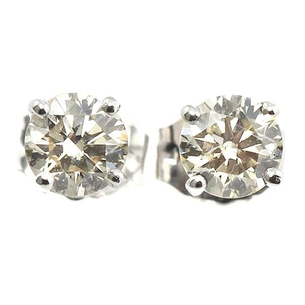 Platinum 1ct TDW Hearts and Arrows Diamond Stud Earrings (H-I, SI1-SI2)