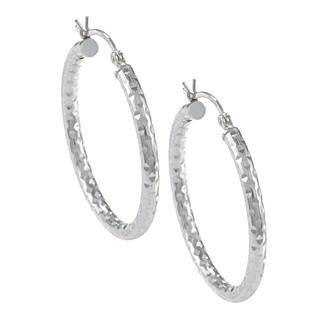 Sunstone Sterling Silver Round Textured Hoop Earrings