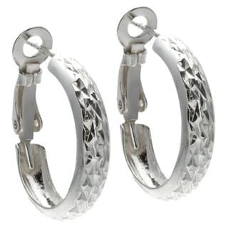 Sunstone Sterling Silver Diamond Cut Clutchless Hoop Earrings