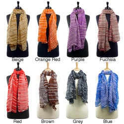 LA77 Women's Three-Toned Striped Scarf