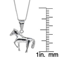 High-polished Sunstone Sterling Silver Horse Pendant Necklace