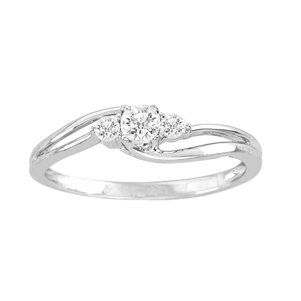 De Couer 10k White Gold 1/4ct TDW Diamond 3-stone Anniversary Ring (H-I, I2)