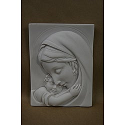 White Cast-solid Bonded-marble Virgin Mary Inspirational Wall Plaque