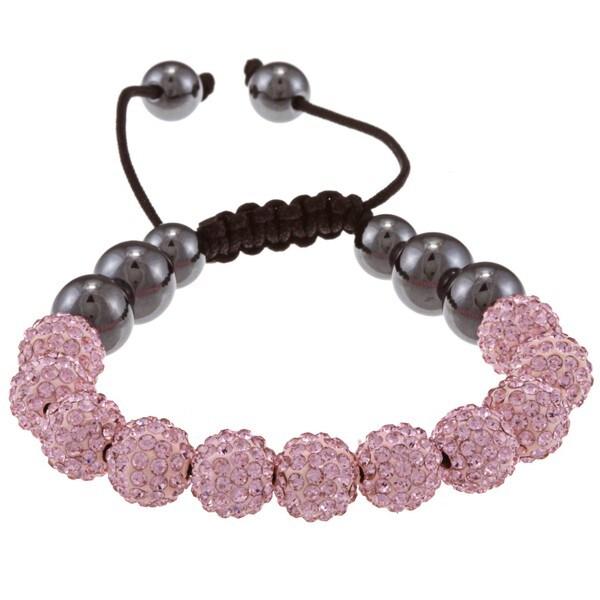 La Preciosa Pink Crystal and Hematite Bead Macrame Bracelet
