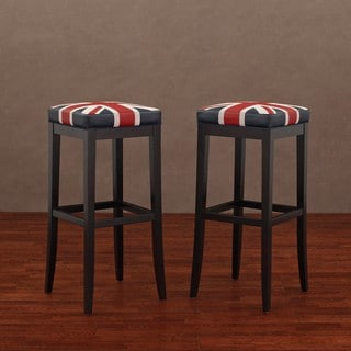 Kari Union Jack Leather Barstools (Set of 2)