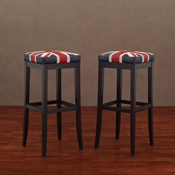 Kari Union Jack Leather Barstools Set Of 2 13992912