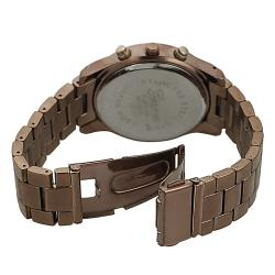 Geneva Platinum Women's Rhinestone Chronograph-Style Brown Link Watch