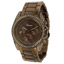 Geneva Platinum Women's Rhinestone Chronograph-style Link Watch