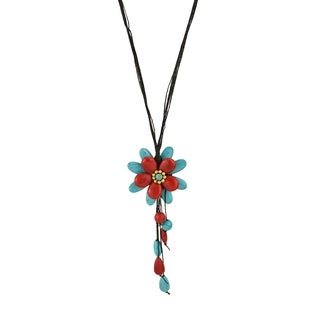 Turquoise and Red Coral Floral Necklace (Thailand)