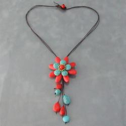 Red Coral and Turquoise Floral Necklace (Thailand)