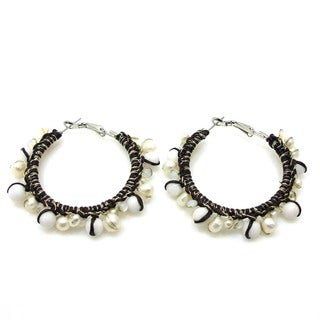 Milky Quartz and Pearl Cotton Hoop Earrings (Thailand)