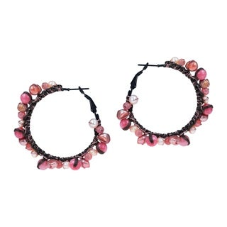 Red Coral and Pearl Cotton Hoop Earrings (Thailand)