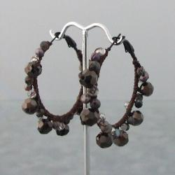 Festive Black Drizzle Crystal-Pearl Cotton Hoop Earrings