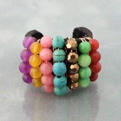 Color Dazzle Multi Stone Adjustable Leather Ring (Thailand)