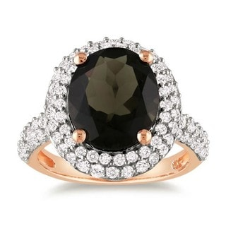 Miadora Pink Silver Smokey Quartz and Created Sapphire Ring (4 7/8ct TGW)