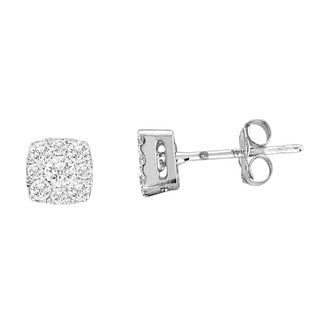 De Couer 10k White Gold 1/3ct TDW Imperial Diamond Earrings (H-I, I2)