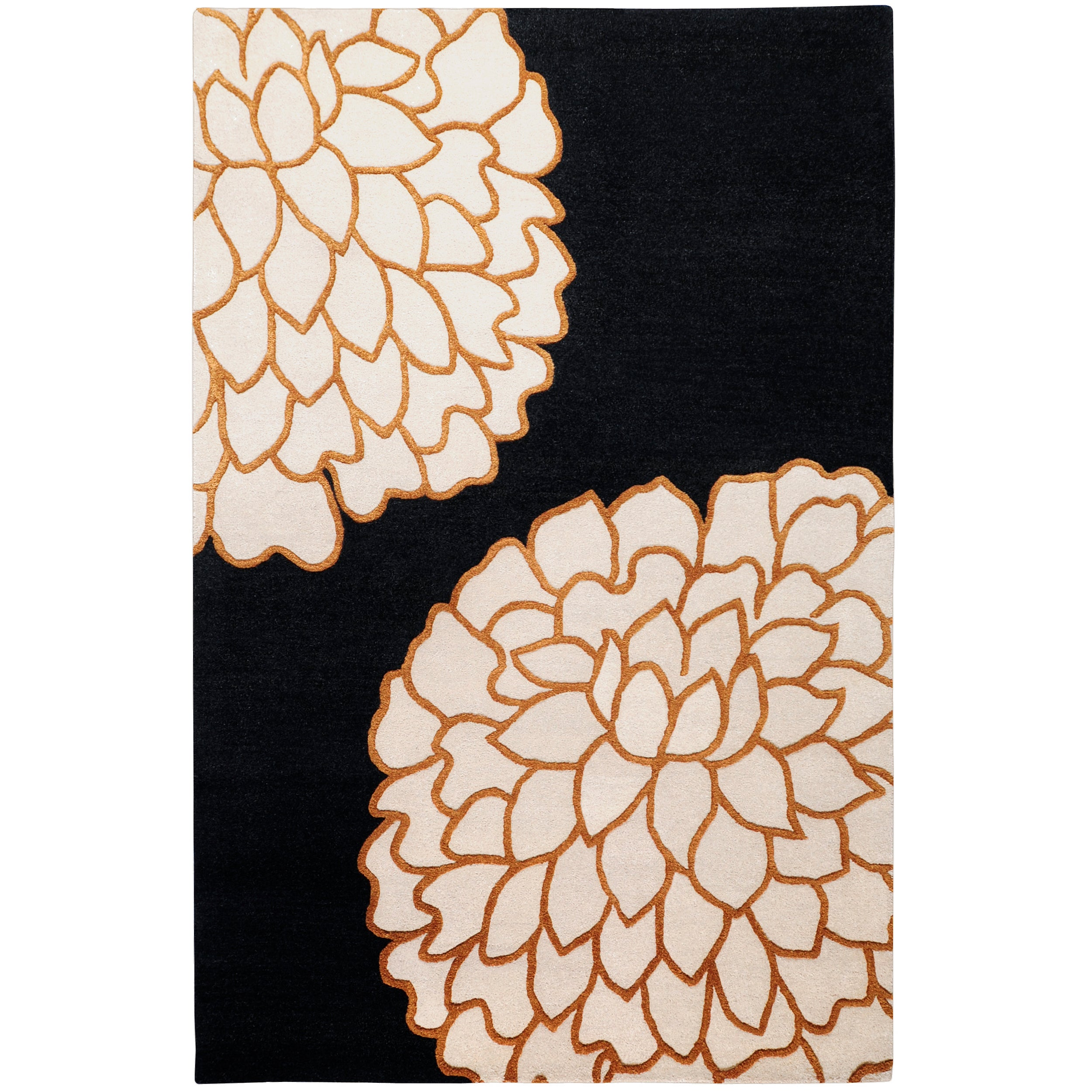 Hand-tufted Contemporary Black/ Imola New Zealand Wool Abstract Rug (8' x 11')
