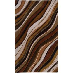 Hand-tufted Contemporary Brown Striped Potenza New Zealand Wool Abstract Rug (9' x 13')