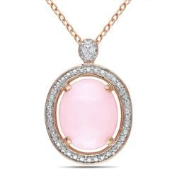 Miadora Pink Silver Pink Opal and Diamond Accent Necklace (2ct TGW)