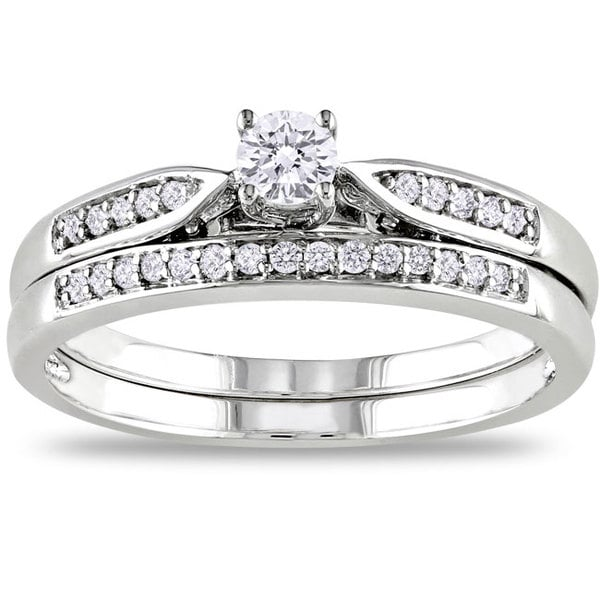 Miadora 10k White Gold 1/3ct TDW White Diamond Bridal Ring Set (G-H, I2-I3)
