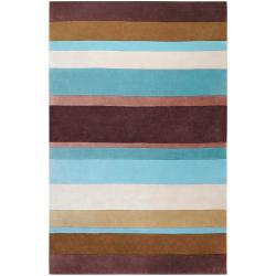 Hand-tufted Casual Brown/Blue Stripe Alton Rug (9' x 13')
